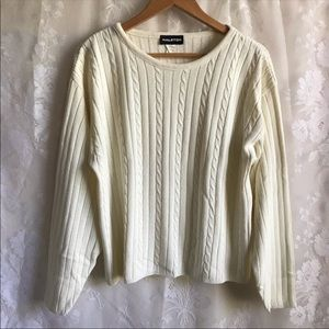 Halston Ivory Cable Knit Long Sleeve Sweater L